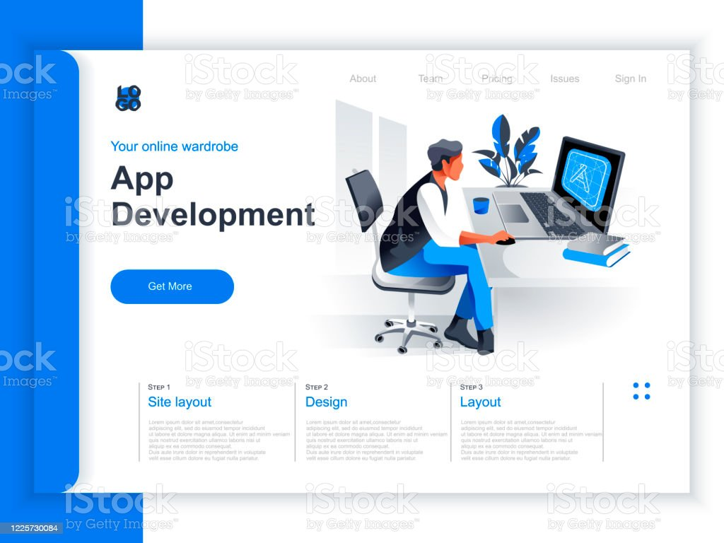 App Development Isometric Landing Page Programmer Working With Computer In Office Situation Stock Illustration Download Image Now Istock