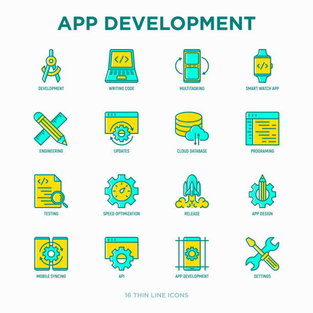 App development thin line icons set: writing code, multitasking, smart watch app, engineering, updates, cloud database, testing, speed optimization, API, mobile syncing. Modern vector illustration. App development thin line icons set: writing code, multitasking, smart watch app, engineering, updates, cloud database, testing, speed optimization, API, mobile syncing. Modern vector illustration. test drive stock illustrations
