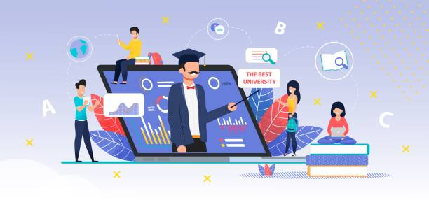 App für Online-Suche nach der besten Universitätsmetapher – Vektorgrafik