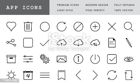Premium App icon set. Pixel perfect, modern design, 100% vector and fully editable.