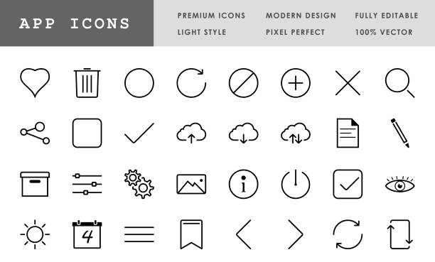 App Icon Collection - 32 Pixel Perfect Vector Icons Premium App icon set. Pixel perfect, modern design, 100% vector and fully editable. conceptual symbol stock illustrations
