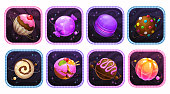 App icons with yummy sweet planets into the colorful frames. Funny application store logo set. Cartoon game assets. Vector illustration.