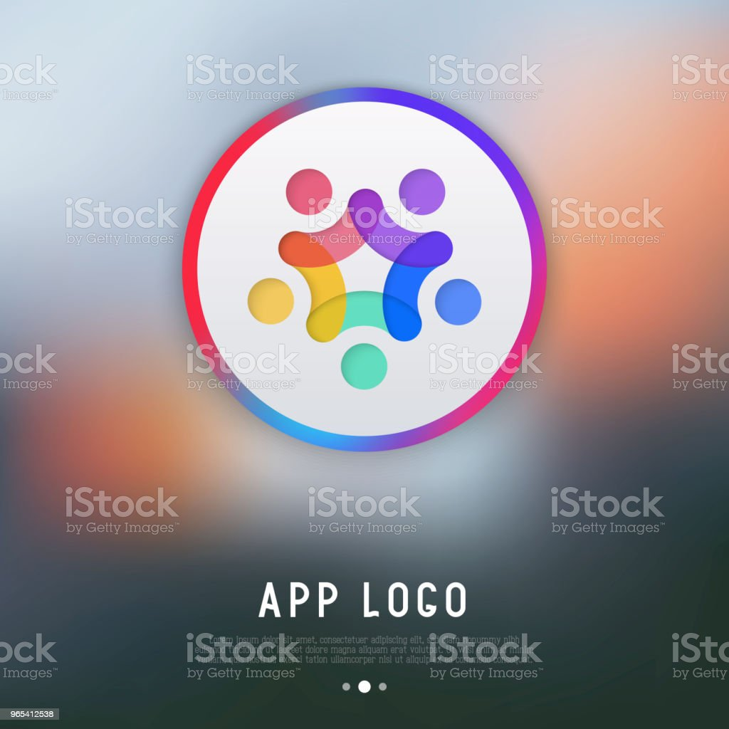 App logo for messenger or chat: people with hands up. Modern vector illustration. royalty-free app logo for messenger or chat people with hands up modern vector illustration stock vector art & more images of arms raised
