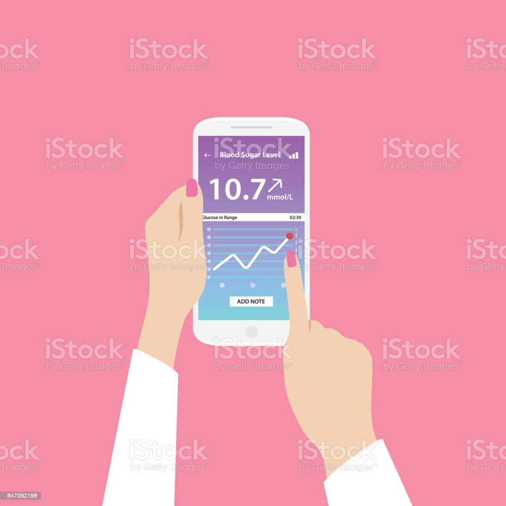 App on phone to check blood sugar levels. Phone in female hands. The pink background. vector art illustration