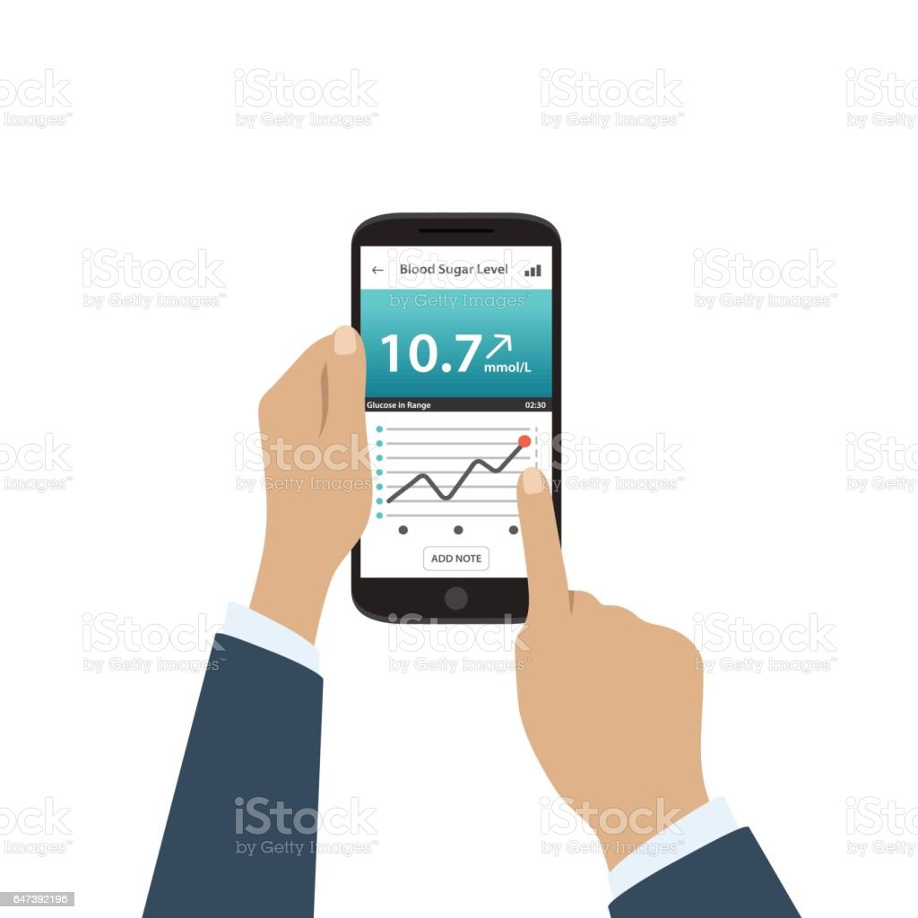 App on phone to check blood sugar levels. Phone in male hands. vector art illustration