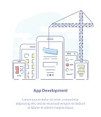 App or Web Development flat line vector Illustration concept.