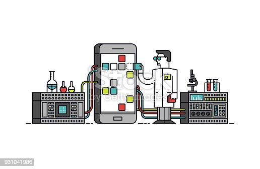 Thin line flat design of lab scientist holding mobile app store solution, smartphone application analysis and study, technical service. Modern vector illustration concept, isolated on white background.