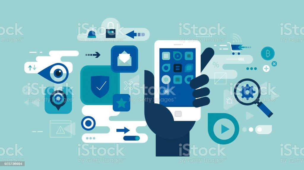 App-Sicherheit – Vektorgrafik