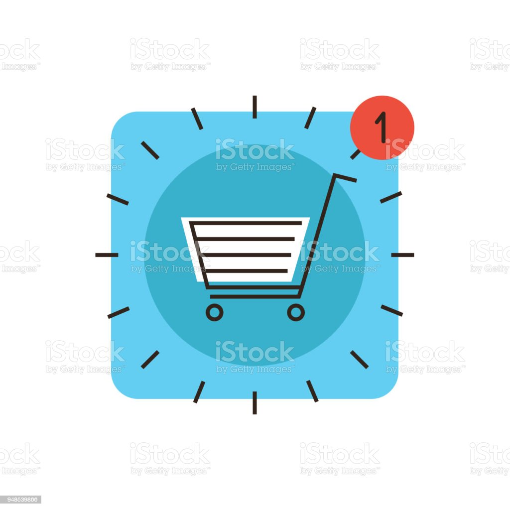 App Store Market Flat Line Icon Concept Stock Illustration