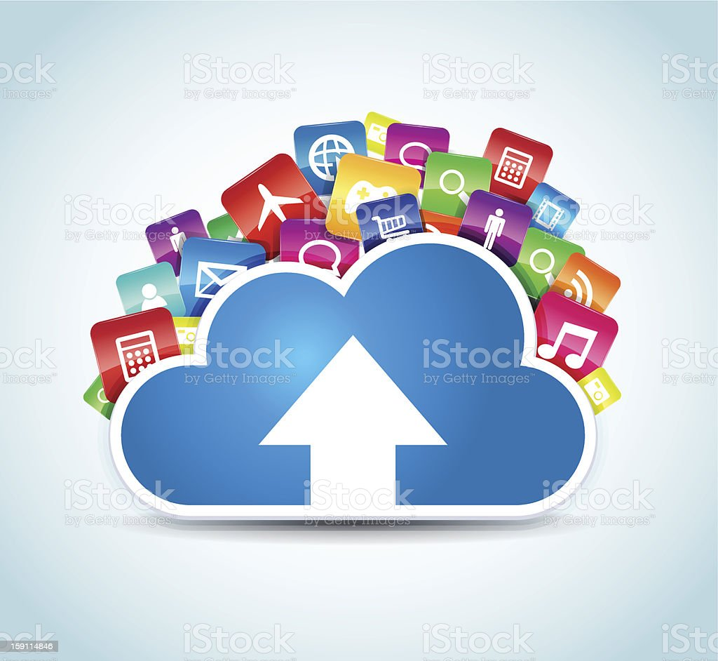 App symbols representing each app that uses the cloud royalty-free stock vector art
