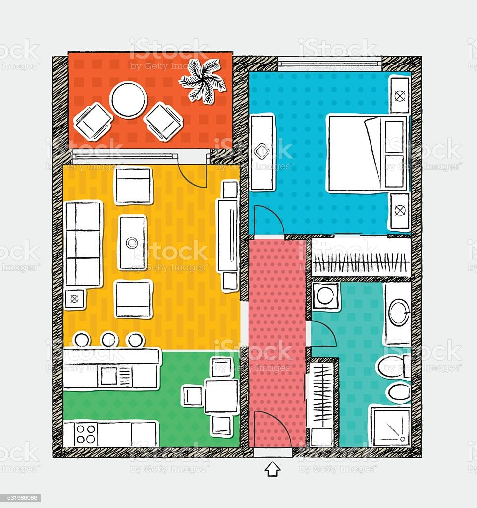 Appartment Plan in Sketchy Style vector art illustration