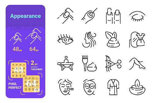 Appearance line icons set