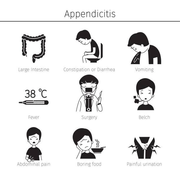 Appendicitis Symptoms Icons Set, Monochrome vector art illustration