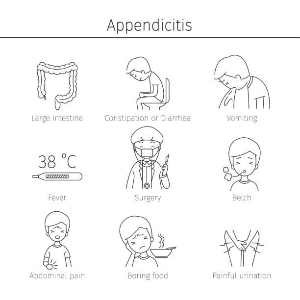 Appendicitis Symptoms Icons Set vector art illustration