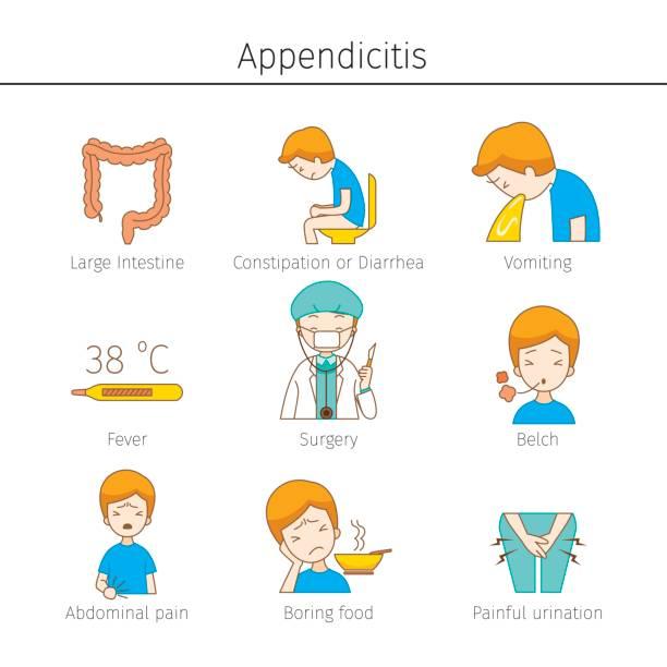 Appendicitis Symptoms Outline Icons Set vector art illustration