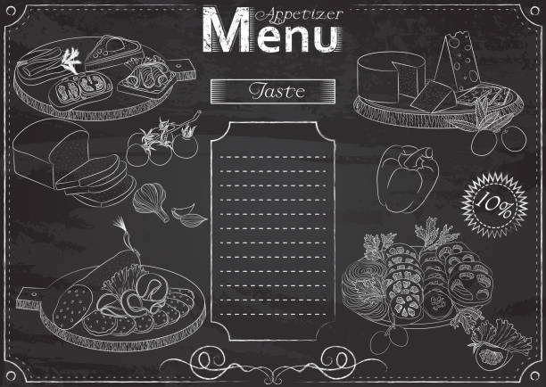 Appetizer menu chalk Vector template with appetizer elements for menu stylized as chalk drawing on chalkboard.Design for a restaurant, cafe or bar cutting board stock illustrations