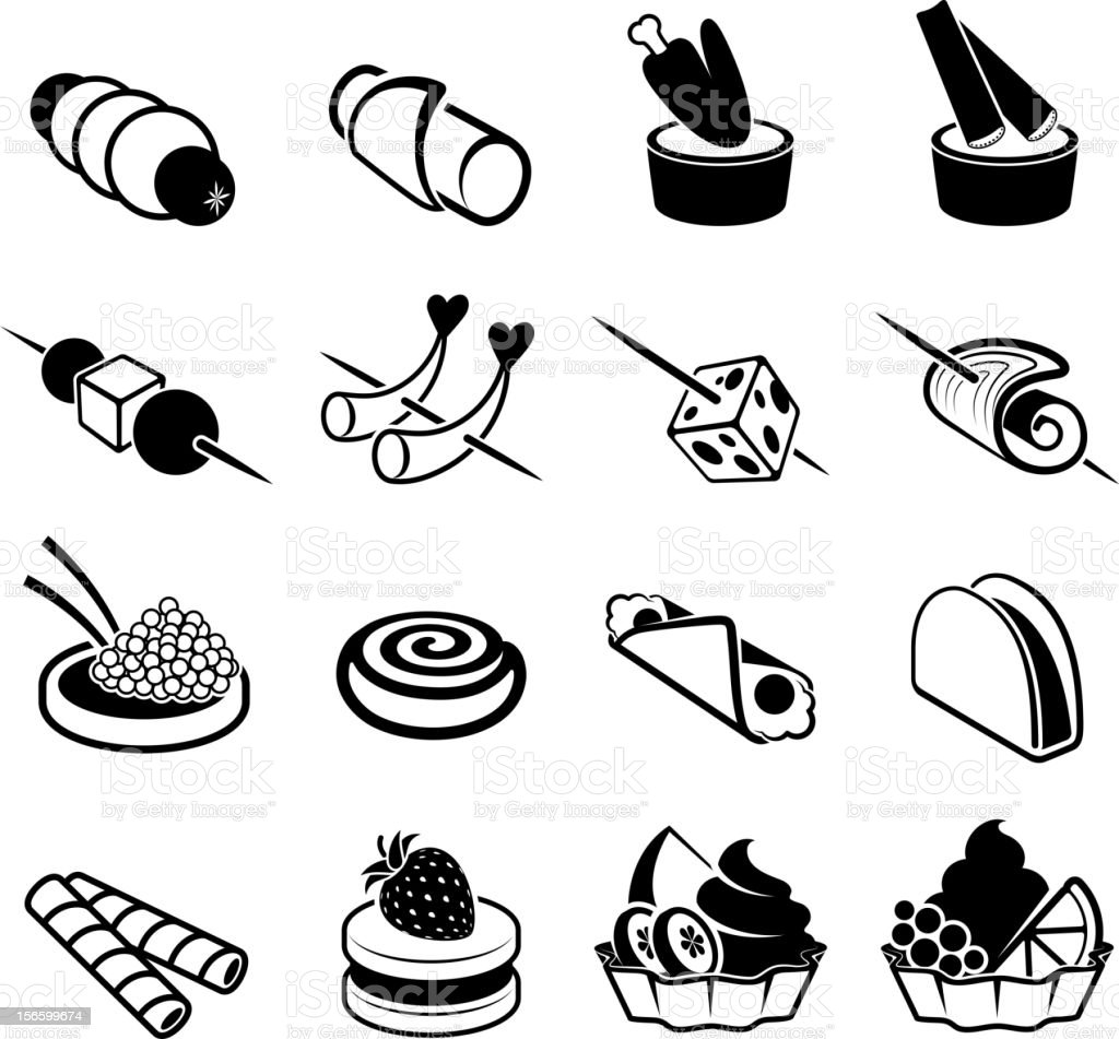 Appetizers black and white royalty free vector icon set vector art illustration