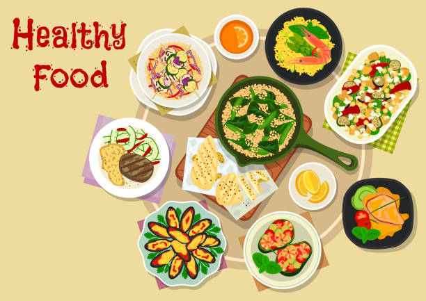 illustrations, cliparts, dessins animés et icônes de icône de repas appétissants pour la conception de menus déjeuner - risotto