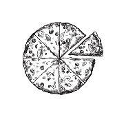 appetizing pizza on a white background