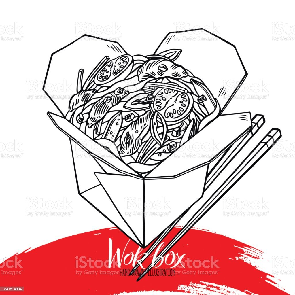 appetizing sketch noodles with beef vector art illustration