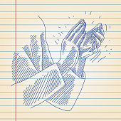 Line drawing of Applauding Hands on ruled paper. Elements are grouped. contains eps10 and high resolution jpeg.