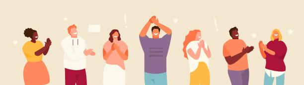 brawo ludzie zestaw wektora - happy people stock illustrations