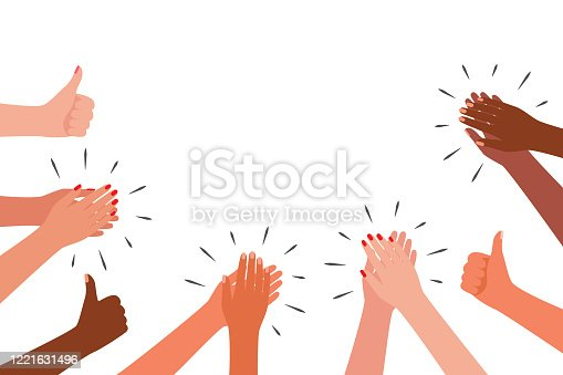 istock Applause and like group of people. Hands multicultural clap. Congratulations, cheering, thanksgiving, thanks, good, best, winner. Vector illustration 1221631496