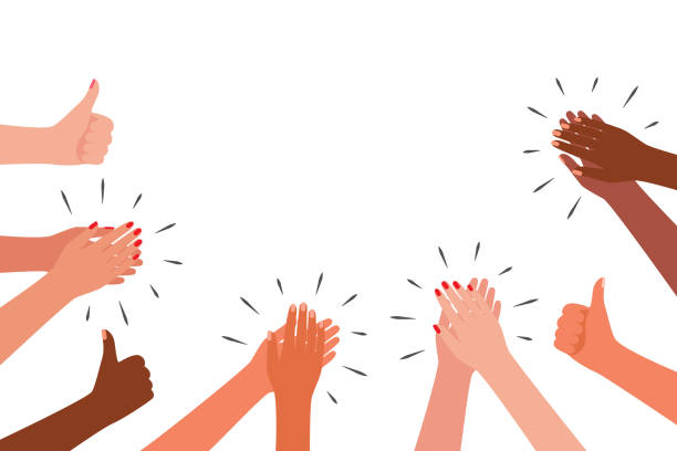 oklaski i jak grupa ludzi. ręce wielokulturowe klaskać. gratulacje, doping, dziękczynienie, dzięki, dobre, najlepsze, zwycięzca. ilustracja wektorowa - happy people stock illustrations