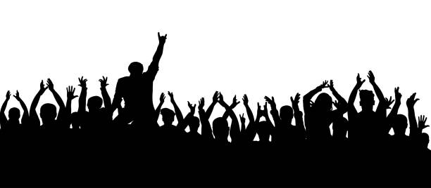 illustrations, cliparts, dessins animés et icônes de silhouette d'applaudissements foule gens. fans de bonne humeur lors d'une soirée de concert - cage animal nuit