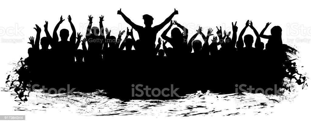 Multitud De Gente Silueta: Ilustración De Silueta De Multitud De Aplausos Gente