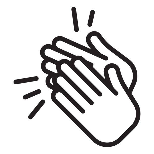 ilustraciones, imágenes clip art, dibujos animados e iconos de stock de icono de aplausos. palmas de las manos - agradecimiento