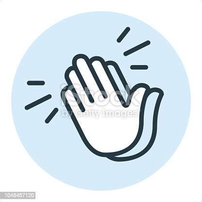 Clapping Hands Sign or Applause — Professional outline style vector icon. Pixel Perfect Principle - icon designed in 64x64 pixel grid, outline stroke 2 px. Blue circle 80x80 px.  Complete Outline PRO icon board - https://www.istockphoto.com/collaboration/boards/r3MrrRaQskC97xh5LR9hsg