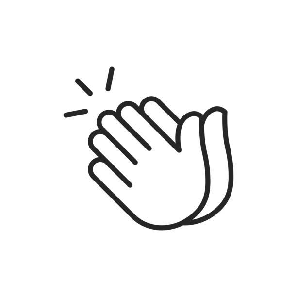 stockillustraties, clipart, cartoons en iconen met applaus dunne lijn vector icoon. bewerkbare lijn. pixel perfect. voor mobiel en web. - cheering