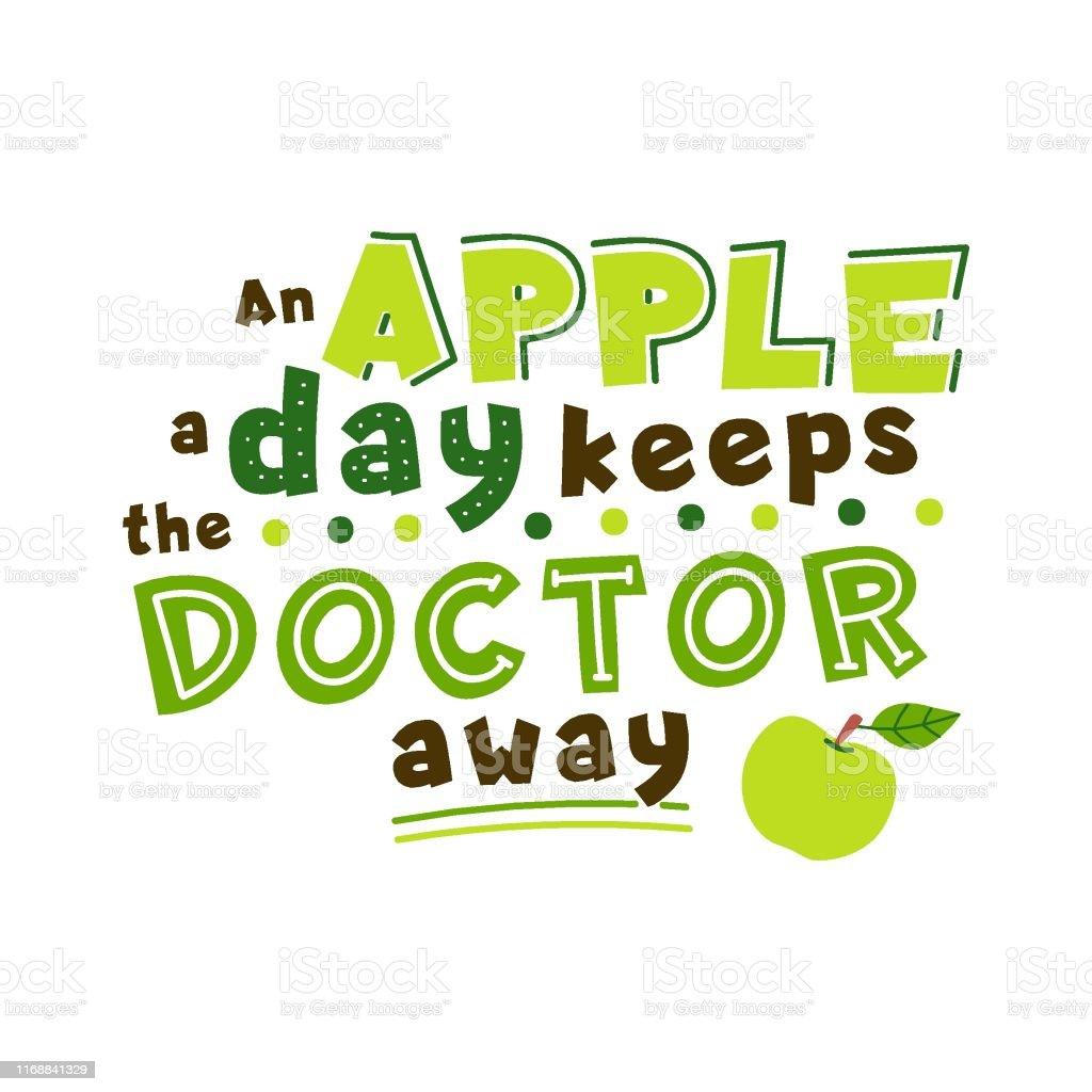 Apple Par Jour Éloigne Le Médecin De La Citation Vecteurs