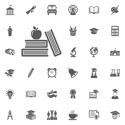 Apple and book icon.