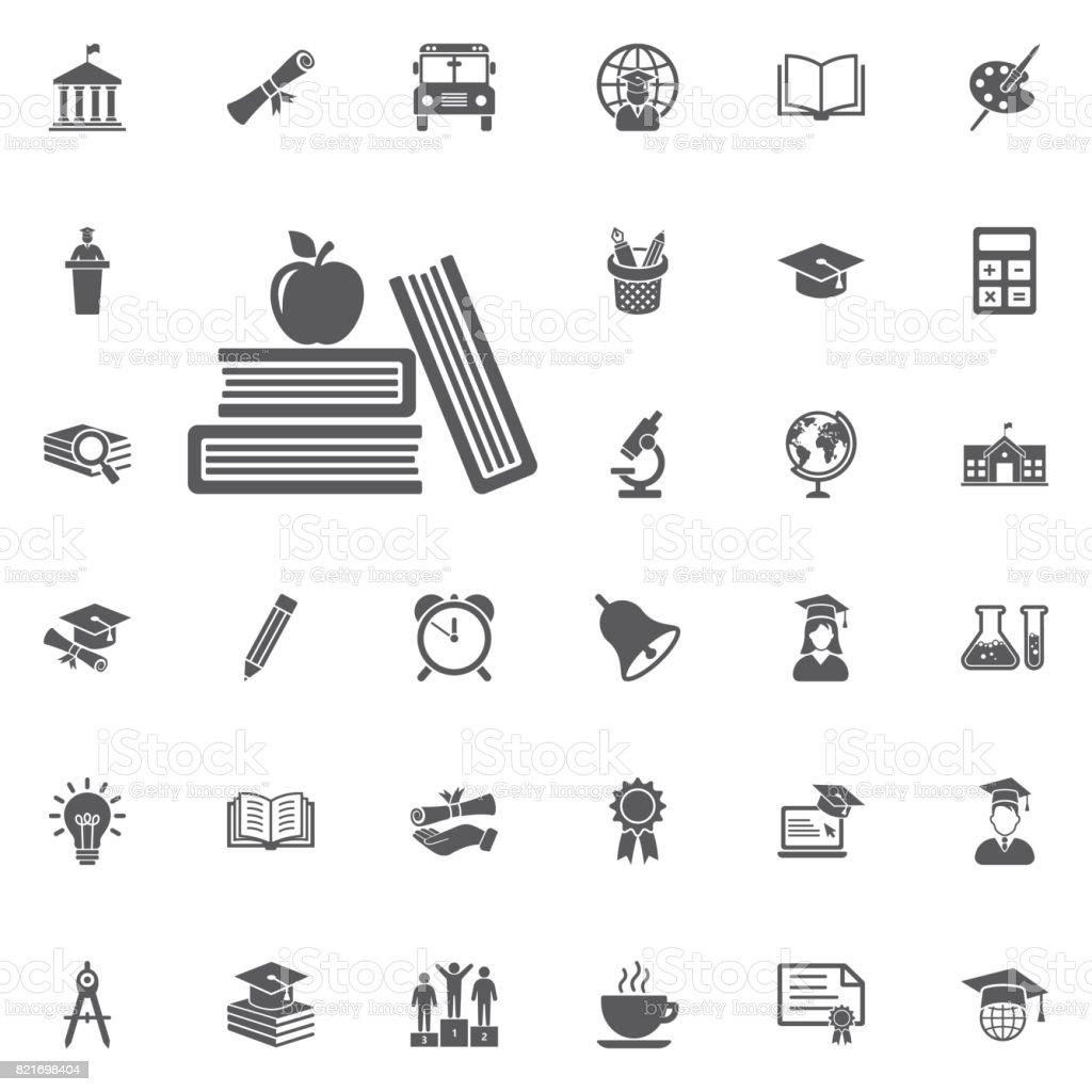 Ícone de maçã e o livro. - ilustração de arte em vetor