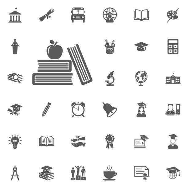 apple and book icon. - school stock illustrations