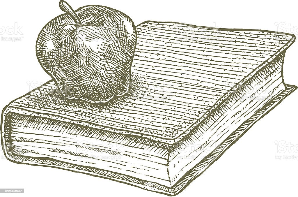 Apple and Book, school concept royalty-free stock vector art