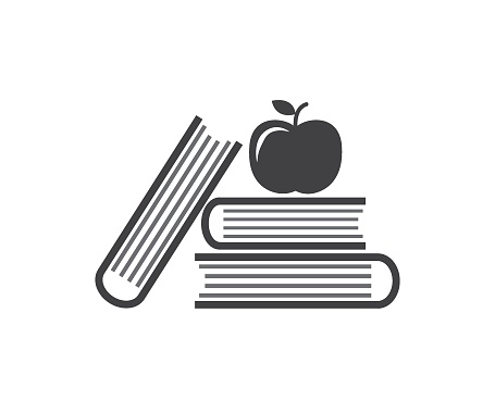 apple and books line icon, school and education library sign vector graphics, a linear pattern on a white background.