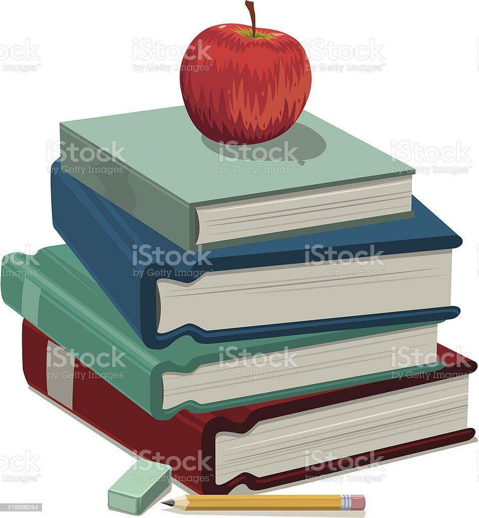 Apple and books vector art illustration