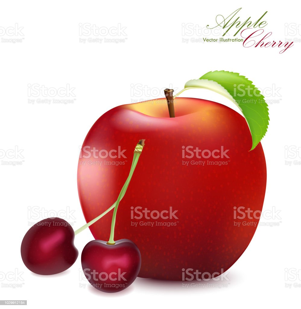 Apple And Cherry Set Realistic 3d Cherries Detailed Illustration Isolated On