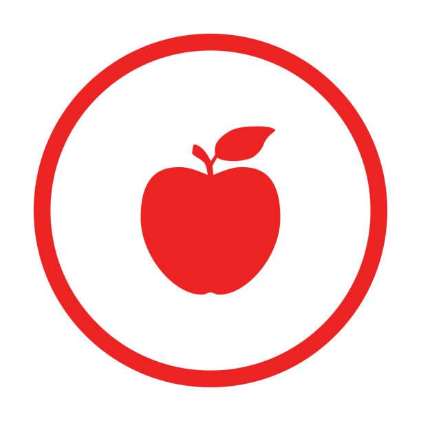 illustrazioni stock, clip art, cartoni animati e icone di tendenza di apple and circle - mela