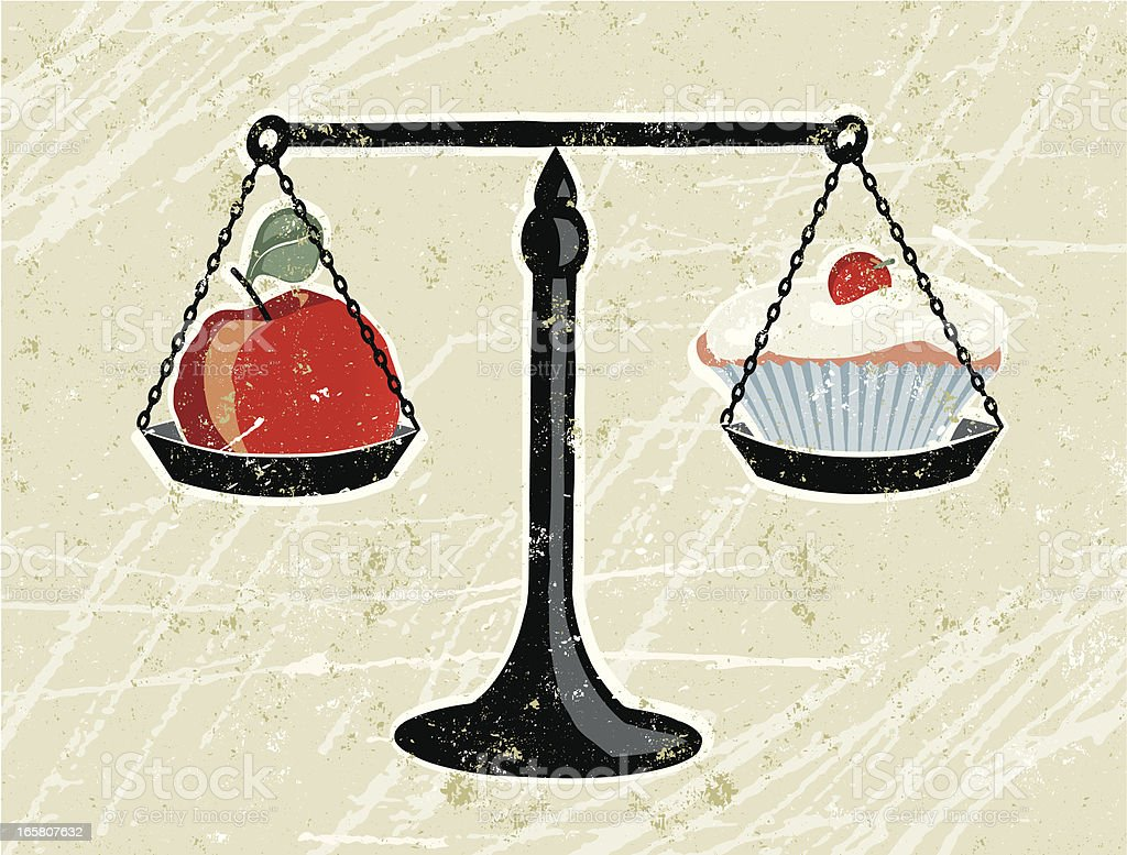 Apple and Cupcake Being Weighed on Scales vector art illustration