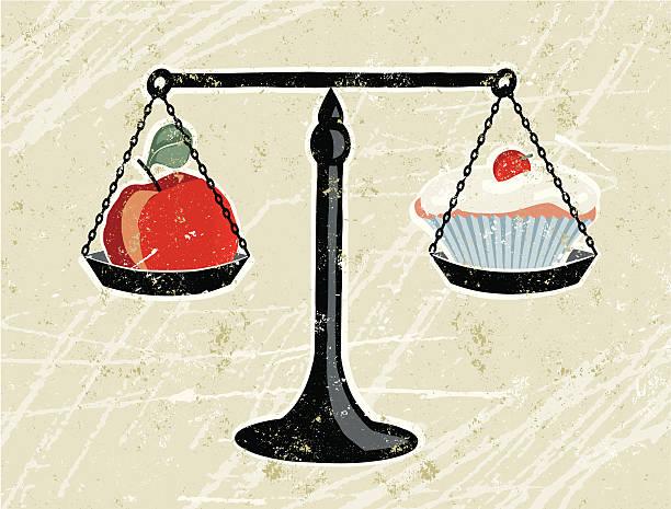 ilustraciones, imágenes clip art, dibujos animados e iconos de stock de apple y se pesó en escalas magdalena con glaseado - comida chatarra