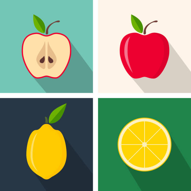 Apple and lemon. Colorful flat design. Fruits with long shadow. Vector icons set Apple and lemon. Colorful flat design. Fruits with long shadow. Vector icons set limoen stock illustrations