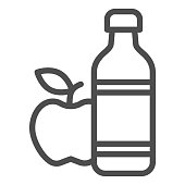 Apple and mineral water line icon, healthy lifestyle concept, bottle of water and fruit sign on white background, mineral water and apple icon in outline style for mobile. Vector graphics