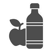 Apple and mineral water solid icon, healthy lifestyle concept, bottle of water and fruit sign on white background, mineral water and apple icon in glyph style for mobile. Vector graphics