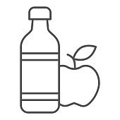 Apple and mineral water thin line icon, healthy lifestyle concept, bottle of water and fruit sign on white background, mineral water and apple icon in outline style for mobile. Vector graphics