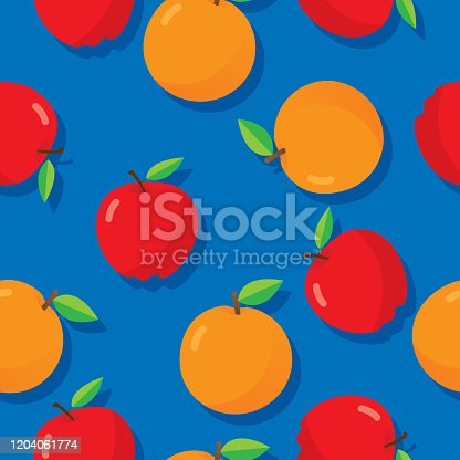 Vector illustration of apples and oranges in a repeating pattern against a blue background.