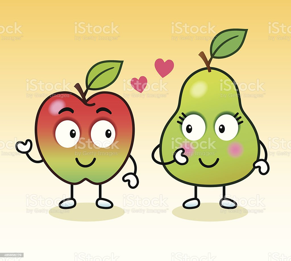 Apple and Pear Romance vector art illustration